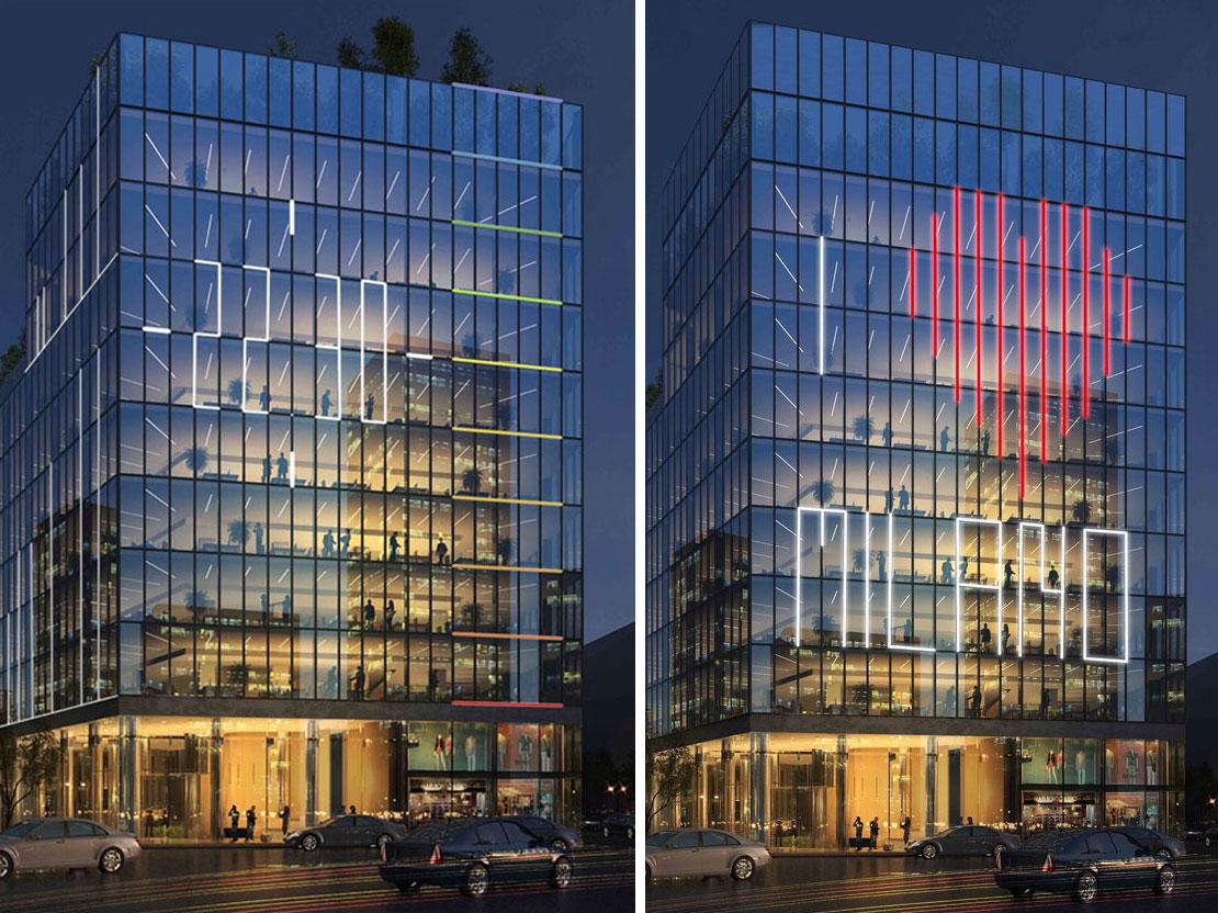 L'illuminazione di facciata che scandirà la facciata in orizzontale e in verticale.