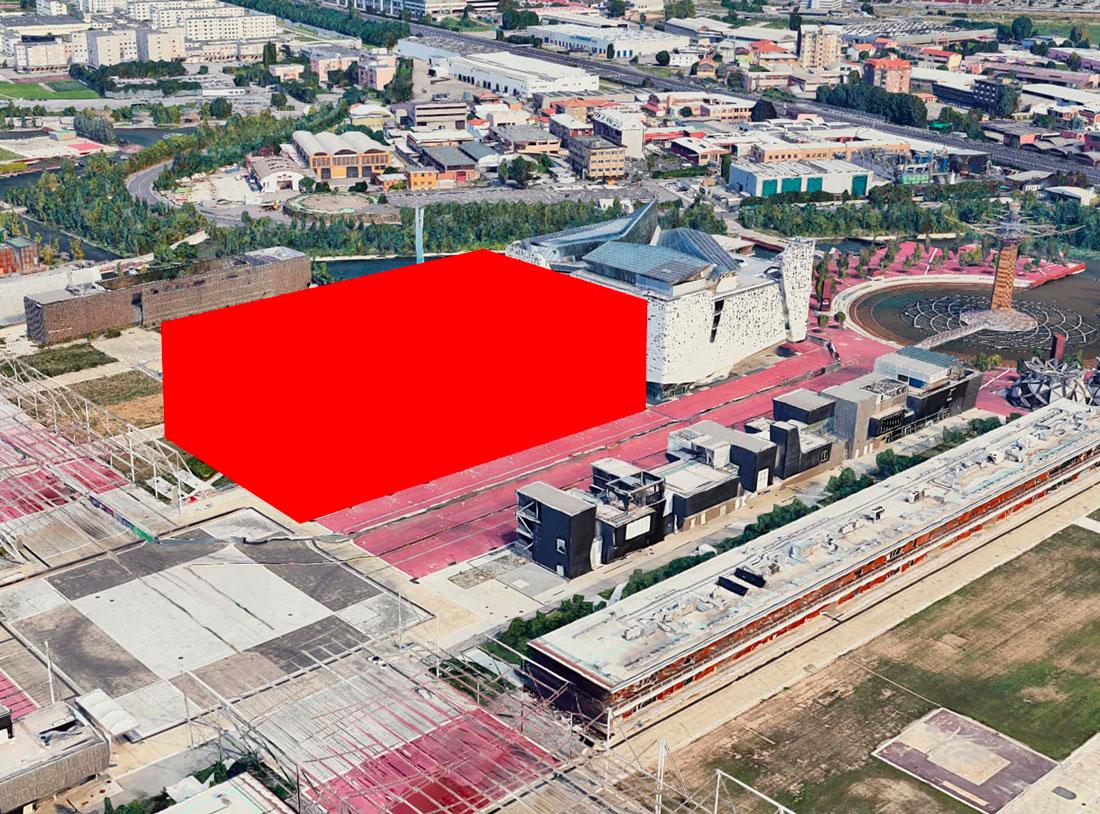 il volume rosso indica la posizione del nuovo edificio di Human Technopole