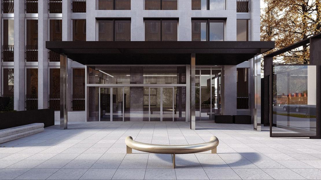Una fotografia dell'ingresso di Paleocapa 7, l'edificio realizzato da Pietro Lingeri e rimaneggiato da Scandurra Studio