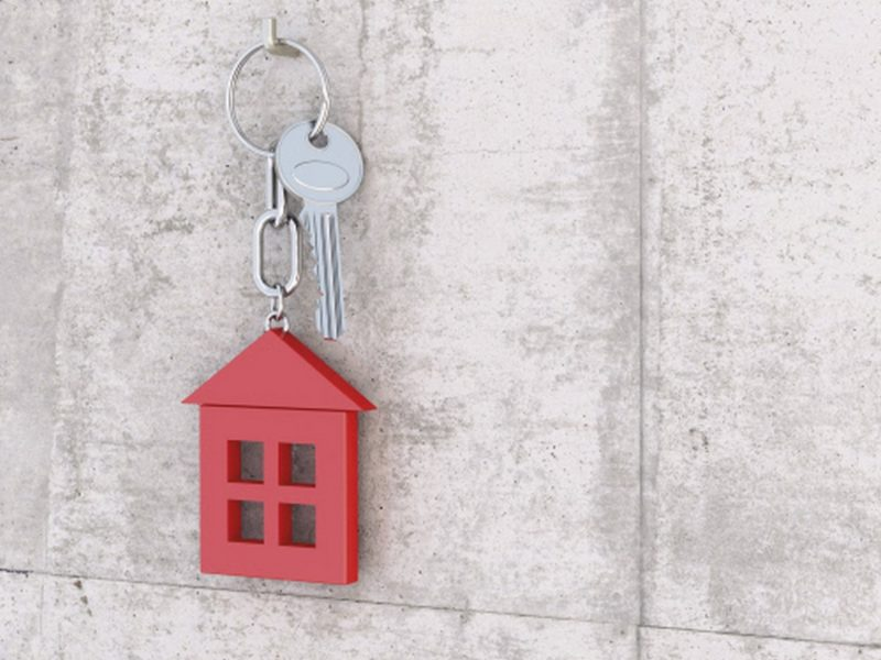Key with red key chain formed like a house hanging at key hook fixed at concrete wall, 3D rendering  Idea Key ring illustration Digitally Generated 3D Rendering key house red key hook hanging concrete wall copy space silver metal steel habitation home ownership symbol geometric form hook fixed chain no people plain background gray background real estate real estate market Color Image