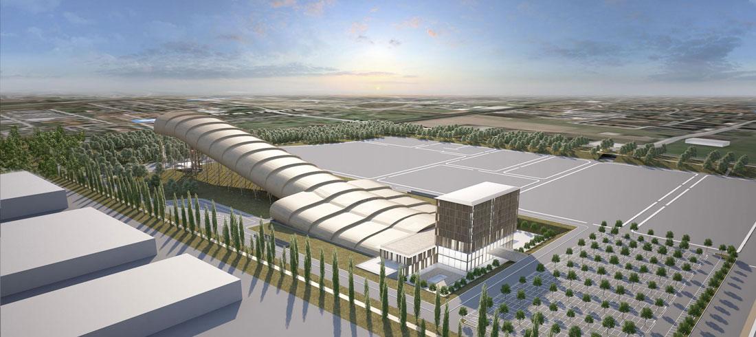 Una visualizzazione rendering dello Skidome di Arese all'interno dell'Area dismessa Ex-Alfa Romeo