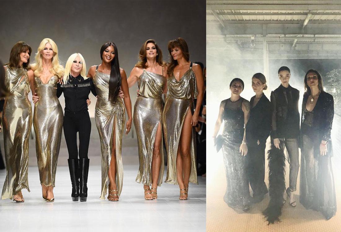 Gli angeli d'oro di Gianni Versace e Mariacarla Boscono in versione total black