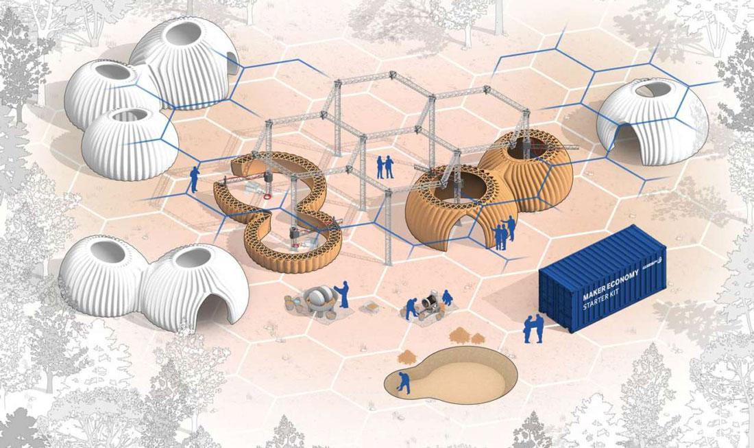 Un'ipotesi di sviluppo plurimodulare con case prototipo Tecla