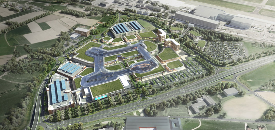 Un vista dall'alto del Caselle Open Mall che sarà realizzato a Torino nei prossimi anni