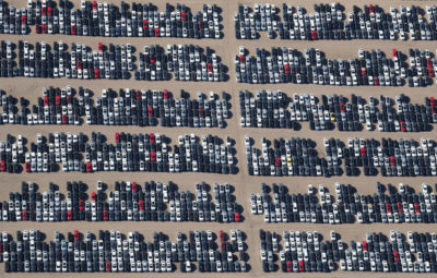 Reacquired Volkswagen and Audi diesel cars sit in a desert graveyard near Victorville, California, U.S. March 28, 2018. Volkswagen AG has paid more than $7.4 billion to buy back about 350,000 vehicles, the automaker said in a recent court filing, and is now storing thousands of vehicles around the United States. Picture taken March 28, 2018. REUTERS/Lucy Nicholson