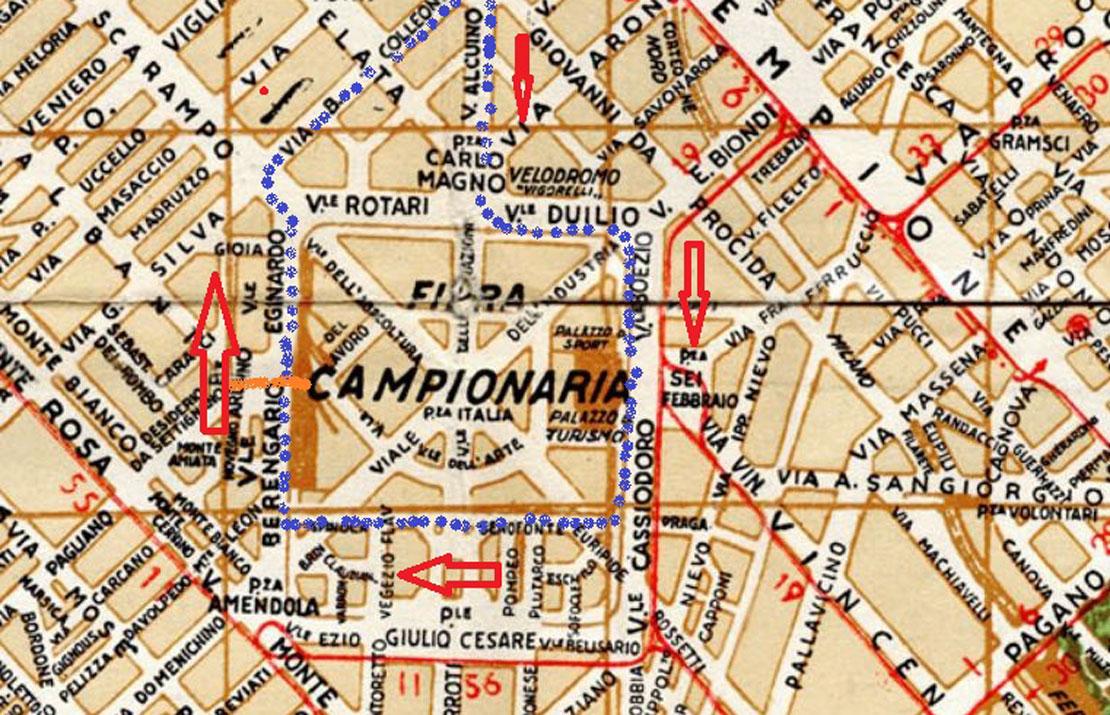 Il percorso del Gran Premio di Formula 1 del 1945 in zona Fiera