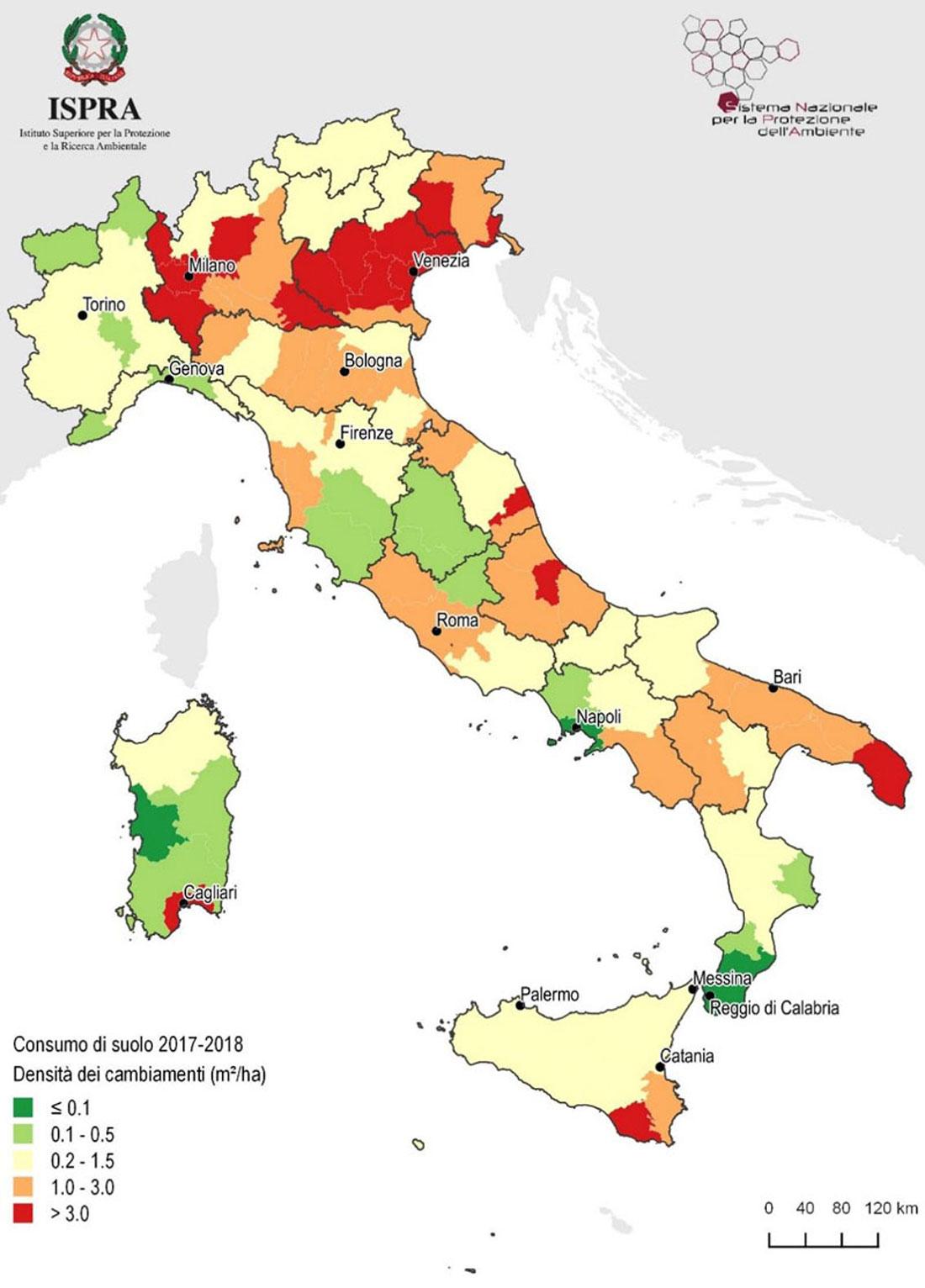Consumo di suolo 2017-2018 su suolo Italiano. Fonte: ISPRA