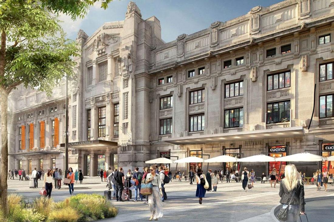 Un rendering di Stazione Centrale con l'area dedicata al Mercato